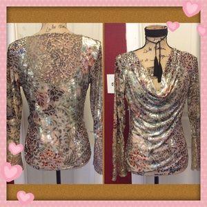 Beautiful cache velvet & lace blouse